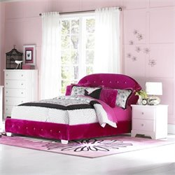 Standard Furniture Marilyn Upholstered Bed with Pillows in Watermelon - Twin