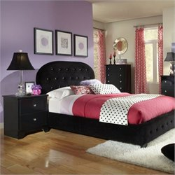 Standard Furniture Marilyn Upholstered Bed in Black with Pillows - Twin