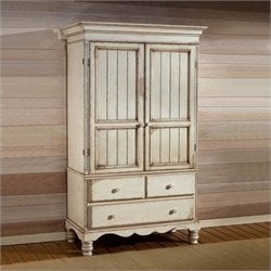 Hillsdale Wilshire Distressed Wardrobe Armoire in Antique White