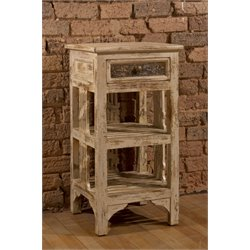 Hillsdale Alena 2 Shelf End Table in Distressed White