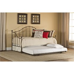 Hillsdale Amy Daybed with Trundle and Suspension Deck in Aged Steel