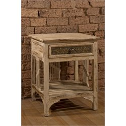 Hillsdale Balin 1 Drawer End Table in Distressed White