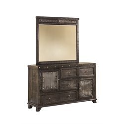 Hillsdale Bolt 4 Drawer Dresser and Mirror in Dark Graywash
