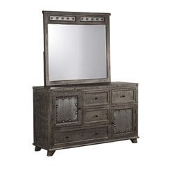 Hillsdale Bolt 4 Drawer Dresser and Mirror in Light Graywash