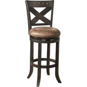 Brantley Faux Leather Swivel Bar Stool in Deep Bronze