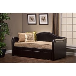 Hillsdale Brenton Faux Leather Daybed with Trundle in Brown