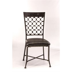 Hillsdale Brescello Faux Leather Dining Chair in Charcoal (Set of 2)