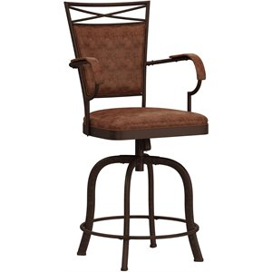 Bridgetown Faux Leather Bar Stool in Aged Bronze