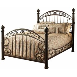 Hillsdale Chesapeake Queen Metal Poster Spindle Bed in Rustic Brown
