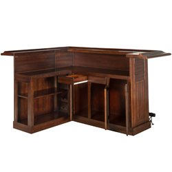 Hillsdale Classic L Shaped Home Bar in Brown Cherry