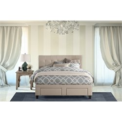 Hillsdale Duggan Upholstered King Storage Panel Bed in Beige
