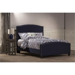 Hillsdale Kerstein Upholstered King Panel Bed in Navy Linen