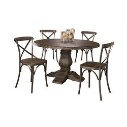 Hillsdale Lorient 5 Piece Round Dining Set in Washed Charcoal Gray
