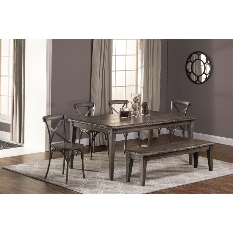 Hillsdale Lorient 6 Piece Dining Set In Washed Charcoal