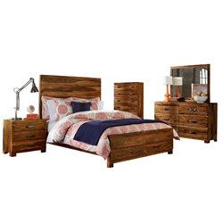 Hillsdale Madera 5 Piece Queen Panel Bedroom Set in Natural