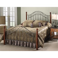 Hillsdale Martino Full Poster Bed in Smoke Silver