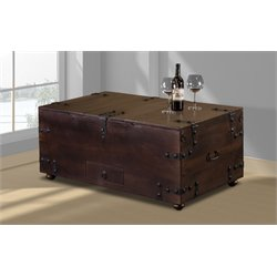 Hillsdale Medford Storage Trunk Coffee Table in Brown