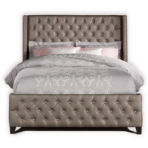 Memphis Faux Leather Upholstered Panel Bed in Gray