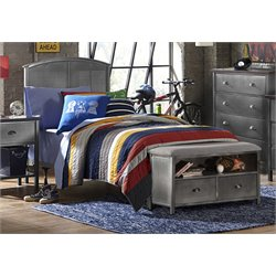 Hillsdale Urban Quarters Twin Panel Bed with Bench in Black Steel