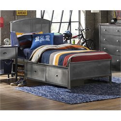 Urban Quarters Twin Panel Storage Bed in Black Steel