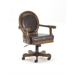 Hillsdale Warrington Faux Leather Caster Game Chair in Brown