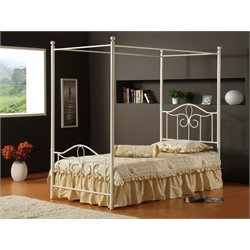 Hillsdale Westfield Twin Canopy Bed in Off White