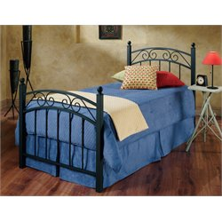 Hillsdale Willow Twin Poster Bed in Textured Black