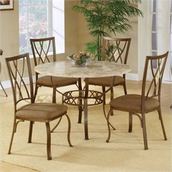 Hillsdale Brookside 5 Piece Round Dinette Set with Diamond Back Chairs