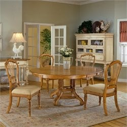 Hillsdale Wilshire 5 Piece Round Dining Table Set in Pine Finish
