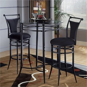 Hillsdale Cierra Mix-n-Match 3pc Pub Table Set with Stools in Black