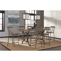 Hillsdale Paddock 7 Piece Counter Height Dining Set in Brown-Gray