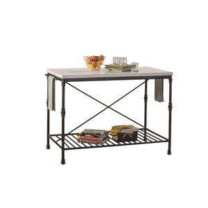 hillsdale castille metal kitchen island with white marble top in black - Kitchen Carts