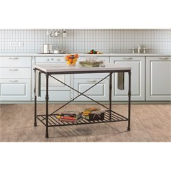 Hillsdale Castille Metal Kitchen Island with White Marble Top in Black