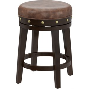 Hillsdale Benard Backless Stool in Deep Smoke Brown