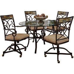 Hillsdale Pompei 5 Piece Round Dining Table Set with Castered Chairs