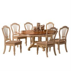 Hillsdale Wilshire 7 Piece Round Dining Table Set in Pine and Antique White