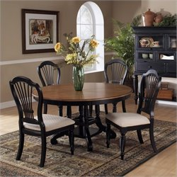 Hillsdale Wilshire 7 Piece Round Dining Table Set in Pine and Black