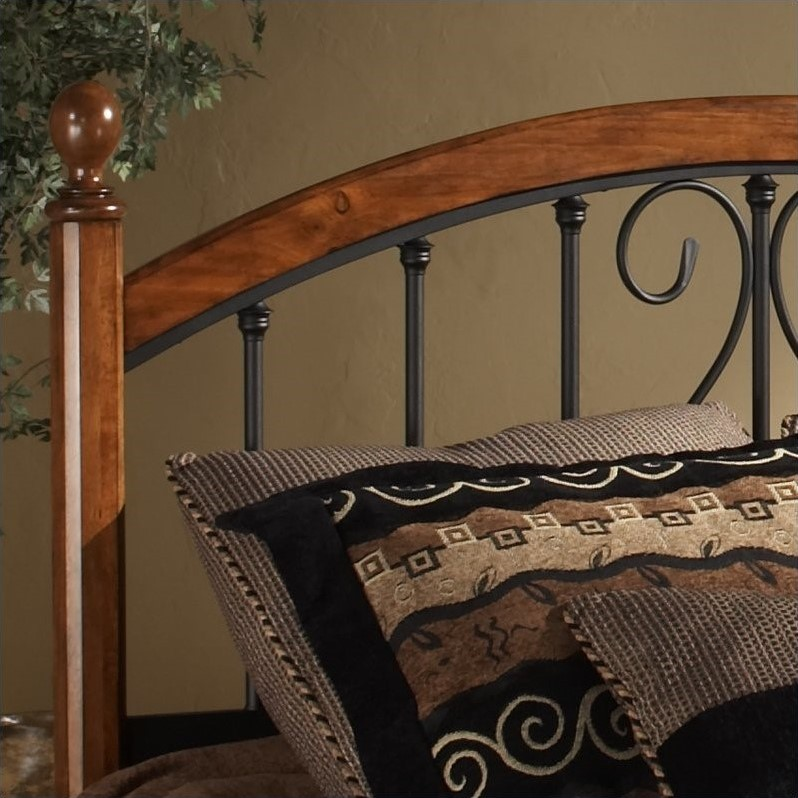 Hillsdale Burton Way Wood and Metal Poster Bed in Cherry and Black