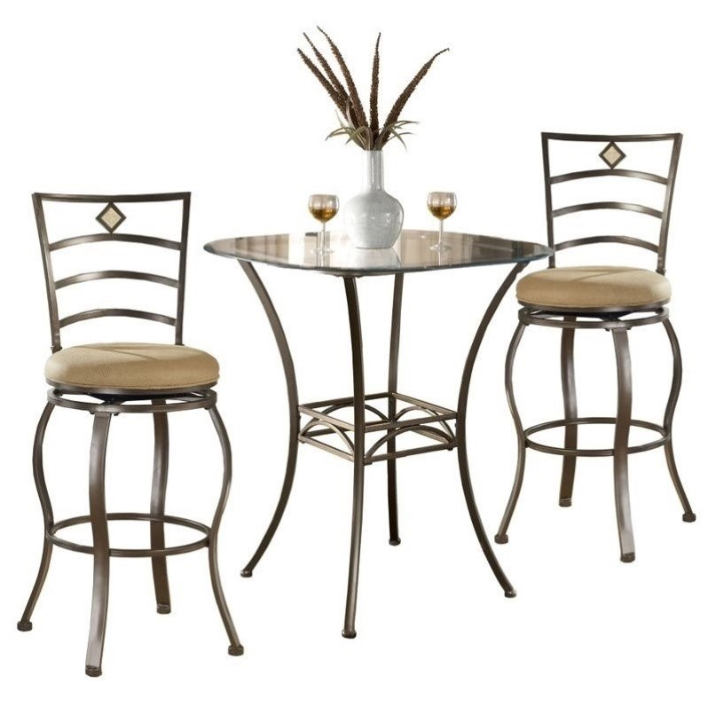 Brookside 3 Piece Bar Height Bistro Table Set with Marin Stools