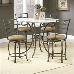 Hillsdale Brookside 5 Piece Counter Height Dining Table Set with Marin Stools