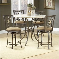 Hillsdale Brookside 5 Piece Counter Height Dining Table Set with Diamond Stools
