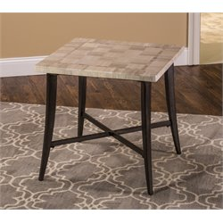 Hillsdale Chancey Faux Marble Top End Table in Charcoal Gray