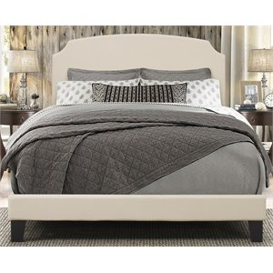 Hillsdale Desi Upholstered Panel Bed in Linen