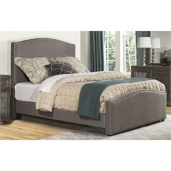 Hillsdale Kerstein Upholstered Panel Bed with Rails in Orly Gray
