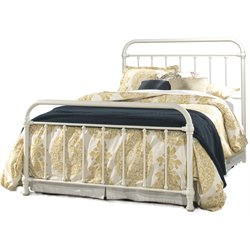 Hillsdale Kirkland Metal Spindle Panel Bed in White with Frame
