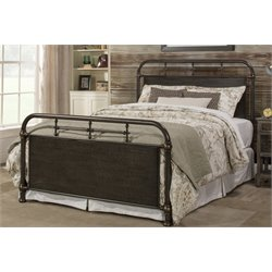 Hillsdale Logan Metal Spindle Panel Bed in Rubbed Black w/o Frame