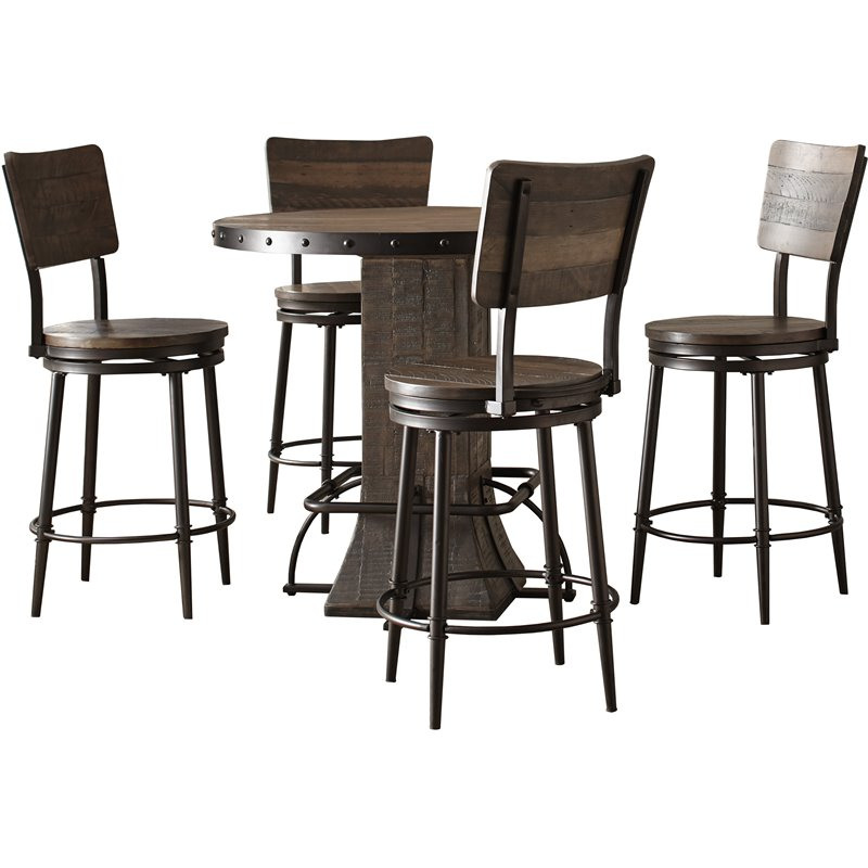 Hillsdale Jennings 5 Piece Round Counter Height Dining Set In Walnut