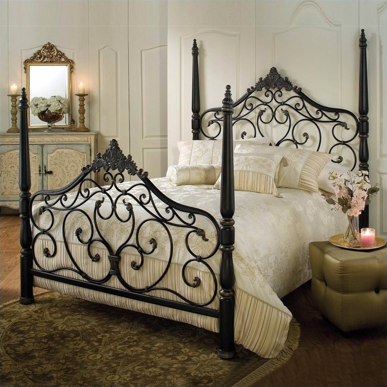 Hillsdale Parkwood Metal Poster Bed In Black Gold Finish 1450bxr