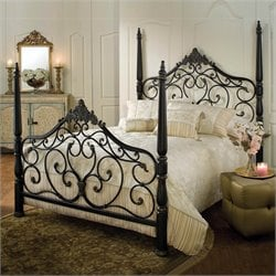 Hillsdale Parkwood Metal Poster Bed in Black Gold Finish - Queen