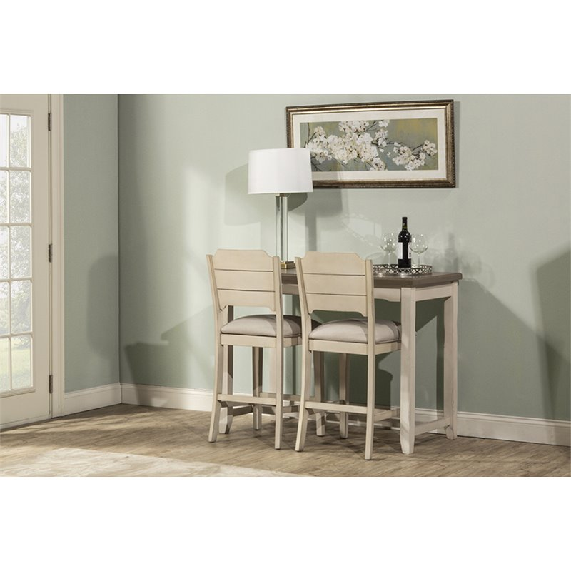 Hillsdale Clarion 3 Piece Counter Height Dining Set in Distressed Gray